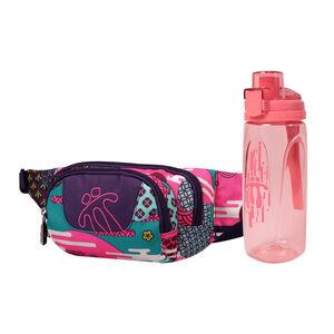 ¡Cómpralo junto! Riñonera Gancho + Botella Botel color rosa